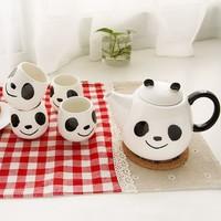 Blue Bai Stationery--Hot sale stationery Cartoon cup Cute creative ceramic panda tea set 354