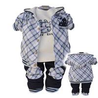children   Clothing Set   cotton   coat+T-shirt+pants   three piece  sets