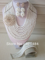 New Fashion Nigerian Wedding African Beads Jewelry Set White Crystal Necklace Bracelet and Earrings CRB-309