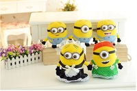 Hot Sell Size 25 cm Cute  Minions Plush Toys For Girls Birthday Gift for Kids  Toys. Free Shipping.2pieces/lot