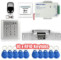 Free Shipping DIY Waterproof RFID Reader Access Control System Full Kit Set + Electric Strike Door Lock + Remote Controller