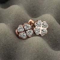 Four leaf clover vinyl inlaying shiny rhinestone-all match rose gold plated stud earring titanium earrings earring male Women