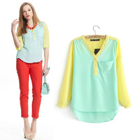 Sweet Girl V-neck Chiffon Shirt Stitching Pocket Tops Long Sleeve Blouse Summer