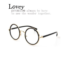 Lovey fasion round eyeglasses frame woman retro anti radiation plain mirror oversized metal star style lovely candy color pink