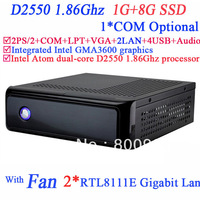 mini-itx htpc dual nic with Intel Atom dual-core D2550 1.86GHz 1G RAM 8G SSD Windows Or Linux 2 RJ-45 TX-RXCOM 422/485 Interface