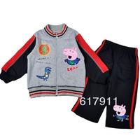 Peppa Pig  lot new 2014 boy clothing spring children outerwear baby clothes kids sets sports suit 2pcs sweatshirt jacket+pants