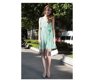 New 2014 European style sleeveless vest dress chiffon pleated round neck dress ,fashion dress , S-XL