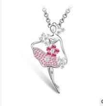 dancing Ballet girl rhinestone necklace women fashion chain jewelry NC527 free shipping(China (Mainland))