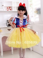 Free Shopping Party Cosplay Costume Supplier Cute Little Girl Snow White Skirt Princess Dress Halloween Cosplay Costume