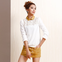 2014 spring all-match loose long-sleeve cutout lace patchwork basic color block chiffon shirt