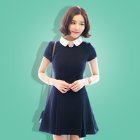 2014 spring plus size clothing short-sleeve peter pan collar solid color slim all-match one-piece dress