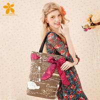 Cotton and linen blend  fashion vintage classic bow doodle long shoulder big bag handbags four colors