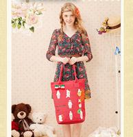 Women's fashion vintage national trend rabbit doodle print sweet handmade bow shoulder bags