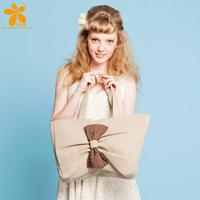 Cotton and linen blend fashion vintage sweet bow casual shoulder bag handbag fashion women's