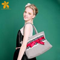 2014 women lady princess handwork new fashion vintage lace bow shoulder bag cotton hemp women's  handbag