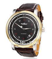 Brand New Leather Belt Mechanical Auto Wind Hollow Skeleton Casual Dress Gift Analog Calendar Wrist Watch,Men's Watch Clock