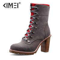 Autumn and winter cowhide thick heel martin boots lacing cow muscle outsole platform boots winter boots