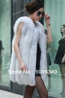 HOT!2014 New arrival fashion genuine imported fox fur vest warm winter Natural Blue Fox colors women long luxury large size coat