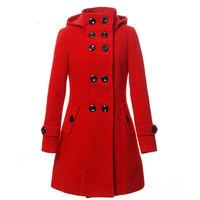 New Women Wool Blend Double Breasted Trench Outwear Long Jacket Hooded Coat