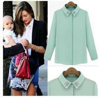 2014 New Fashion Women Hot Sale Brand Design High Street Elegant Lip Print Chiffon Blouse Shirt