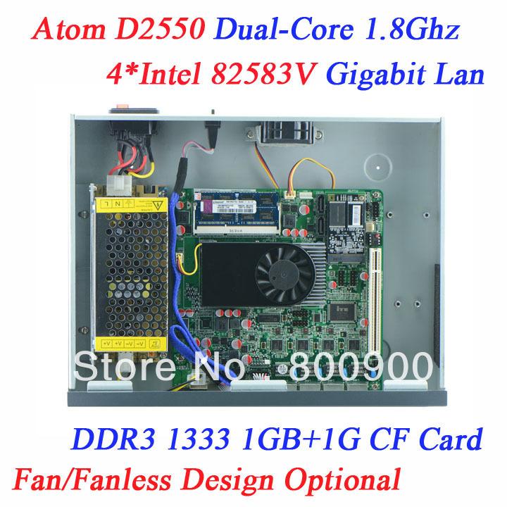 Firewall System 1U network server with Atom D2550 4 Ethernet support PFS ROS Panabit PFSense monowall WAYOS BYTEVALUE hi-spider(China (Mainland))