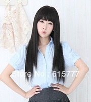 cheap Wig long curly hair wig long straight hair female elegant wig for gift  free shipping