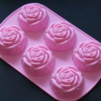 2014 New Silicone Bakeware 6 Per Sheet Rose Shape Cake Mold Baking Pan, wedding decoration cake tool, 26*16.5*3.5cm