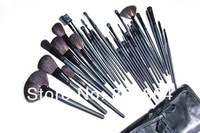 Brand Logo Professional 32 Pcs Cosmetic Facial Make up Brush Kit Makeup Brushes Tools Set With Black Leather Case