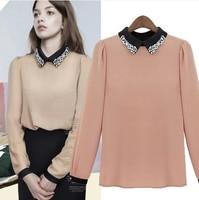 2014 New fashion European Style women's female long-sleeve shirt slim chiffon shirt female basic shirt blouse