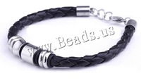 Free shipping!!!Cowhide Bracelet,Love, with Silicone, black, 10mm, Length:Approx 8 Inch, 25Strands/Lot, Sold By Lot