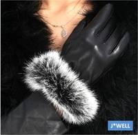 Fashion Women Winter Warm European Lady Driving Rabbit Fur Hair Soft Faux Sheep Leather Mittens Luxury Wrist Gloves (5 Colors)