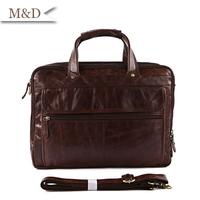M&D New Arrivals Genuine Leather Briefcase Full-grain Leather Men Portfolio Bag Messenger Bag
