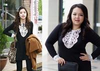 Fat women big size elegent lace dresses plus size Femal Lace long sleeve base skirt 2014 fashion high quality