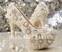 2014 New  Womens Girls Luxury Handmade Fake Pearl Platform High heel Stilettos Wedding Shoes Night Party Pumps  Sale Price!!