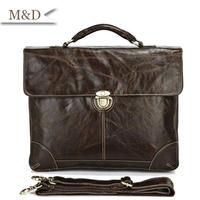 M&D New Arrivals Hot Sale Briefcase Fashion Genuine Leather Handbag Top Grade Quality Messenger Bag