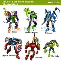 6X Free shipping The Avengers of super hero,Captain America Ironman Batman  Joker Green Lantern The Hulk  robot fighter
