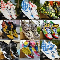 Free shipping Large wings high-top Shoes men women's lovers hip-hop Shoes leopard print