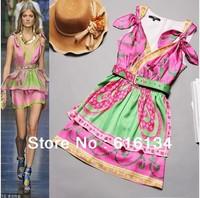 New In High Fashion Luxurious Brand 2013 Catwalk Style Sweety 100% Silk Dress Women V-neck Print Vintage Pretty Summer Dress