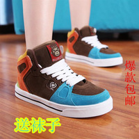 Free shipping Autumn the loggerhead skateboarding Shoes female high-top Shoes lovers hip-hop Shoes sport Shoes