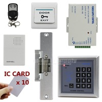 DIY Remote Control 13.6MHz IC Card Reader Password Keypad Access Control Security System Kit + Strike Lock + Door Bell MG236B
