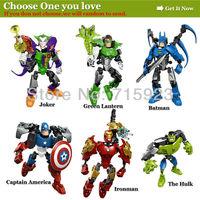 1X Free shipping The Avengers of super hero,Captain America/Ironman/Batman/Joker/Green Lantern/The Hulk  robot fighter