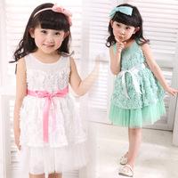 Free shipping 2014 Female baby dress installed fine girls dress baby clothing Newborn girl spring dress