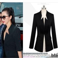2014 New arrival Tops Fashion Women balzer Coat jacket slim Korea  black plus size XXXL OL Blazer  Suit jacket  Spring Coat