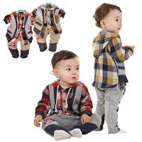 Free shippingbabyrow European version of the 0377 children's clothing spring plaid shirtbaby clothing