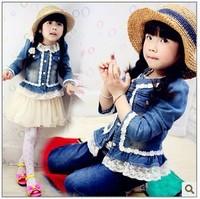 Free shipping 2014 high quality lace Korean girls denim jacket baby clothing baby girls coat spring Girls denim jacket