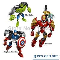 3X Freeshipping Assembled building blocks of Avengers Superhero IronMan Hulk Captain America Children's educational toys
