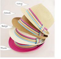 Free Shipping 2014 Fashion Unisex Solid Braid Fedora Trilby Gangster Cap Summer Beach Sun Straw Panama Hat Panama Hats Headwear