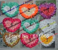 Free CPAM shabby chiffon rose children/kid hair accessories, Chiffon heart Wedding dress flower lace trimming,8cm,20pcs/lot