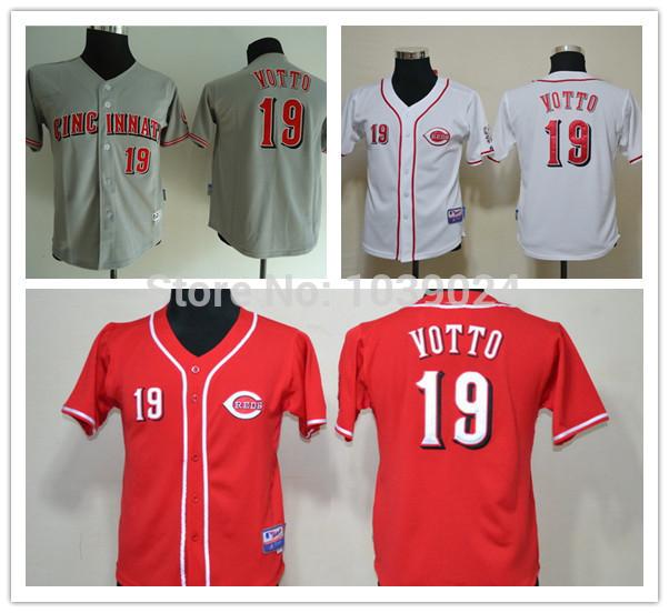 Baseball Jerseys Votto 19 Votto Youth Baseball Jersey Kids brand baseball jerseys 19 votto coolbase