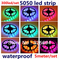 Free shipping 5050 LED Strip SMD Flexible light DC 12v 60led/m 300leds 5M waterproof warm/white/red/green/blue/yellow ribbon
